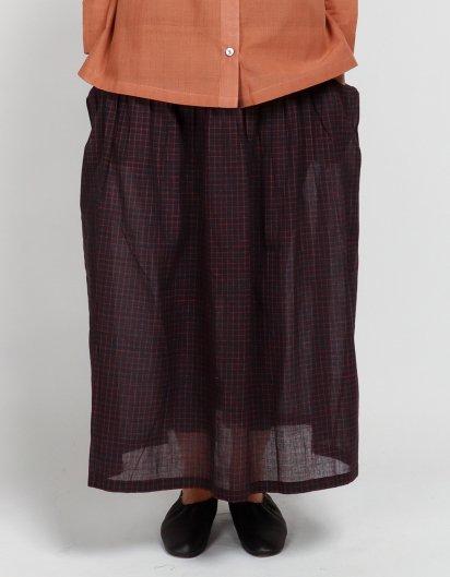 サイドポケットスカート カディコットン レッドチェック
