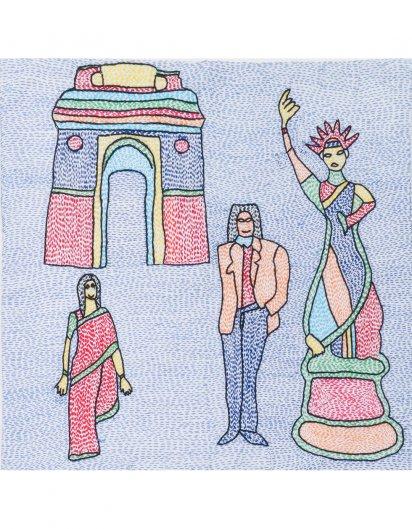 Archana Kumari 手刺繍クッションカバー(インドの彫像/マルチカラー)