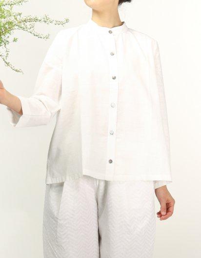 カディコットン スタンドカラーブラウス オーガニックコットン White