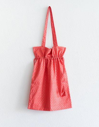ブッダガヤ カディコットン ゴールドプリントバッグ Pink