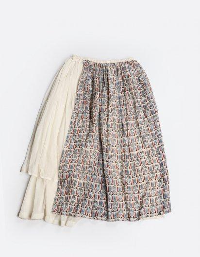 モスリンコットン スカートパンツ  チューリップ模様 WH