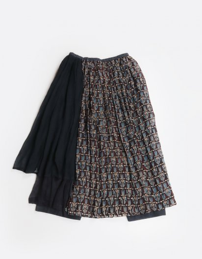 モスリンコットン スカートパンツ  チューリップ模様 BK