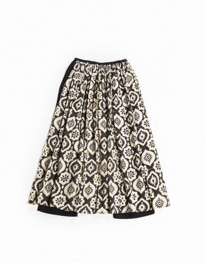 ブロックプリントスカートインパンツ WH