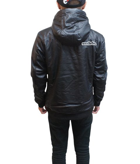 soft fake leather hoody