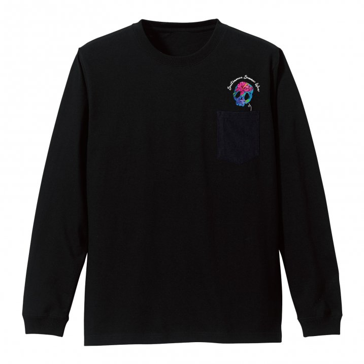 skull tropical pocket L/S tee