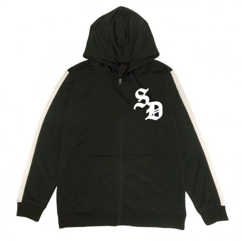sd stripe slv zip up hoody
