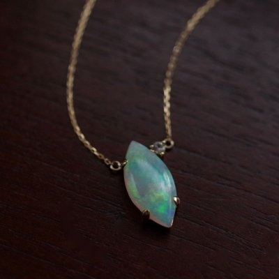 White Opal necklace K18  〜Modern Classic〜
