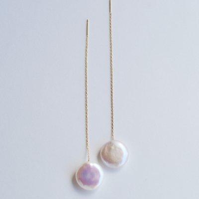 コインパールロングピアス(W)Coin pearl  long pierce