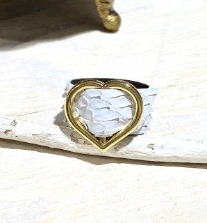 CHIAVI D'ORO (キアーヴィドォーロ) ダイヤモンドパイソンゴールドハートリング カラー : マットビアンコ