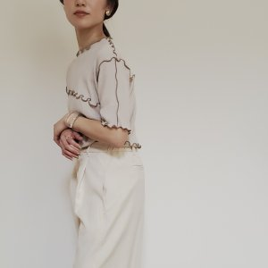 thermal rompers / ivory beige