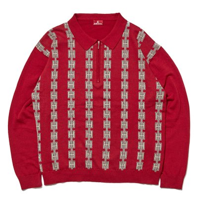 <img class='new_mark_img1' src='//img.shop-pro.jp/img/new/icons5.gif' style='border:none;display:inline;margin:0px;padding:0px;width:auto;' />HELLRAZOR [CHAIN HALF ZIP KNIT SWEATER] (BURGUNDY)