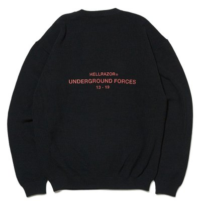 HELLRAZOR [UNDER GROUND FORCE CREW KNIT SWEATER] (BLACK)