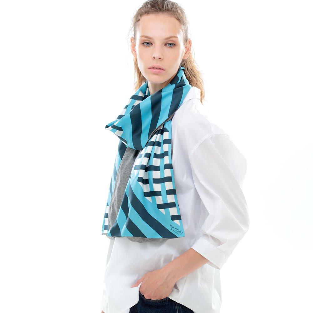 GRID CHECK(NGP-040) 【the PORT by marca】 シルクツイル+ジャージー袋合わせ ナロースカーフの画像1