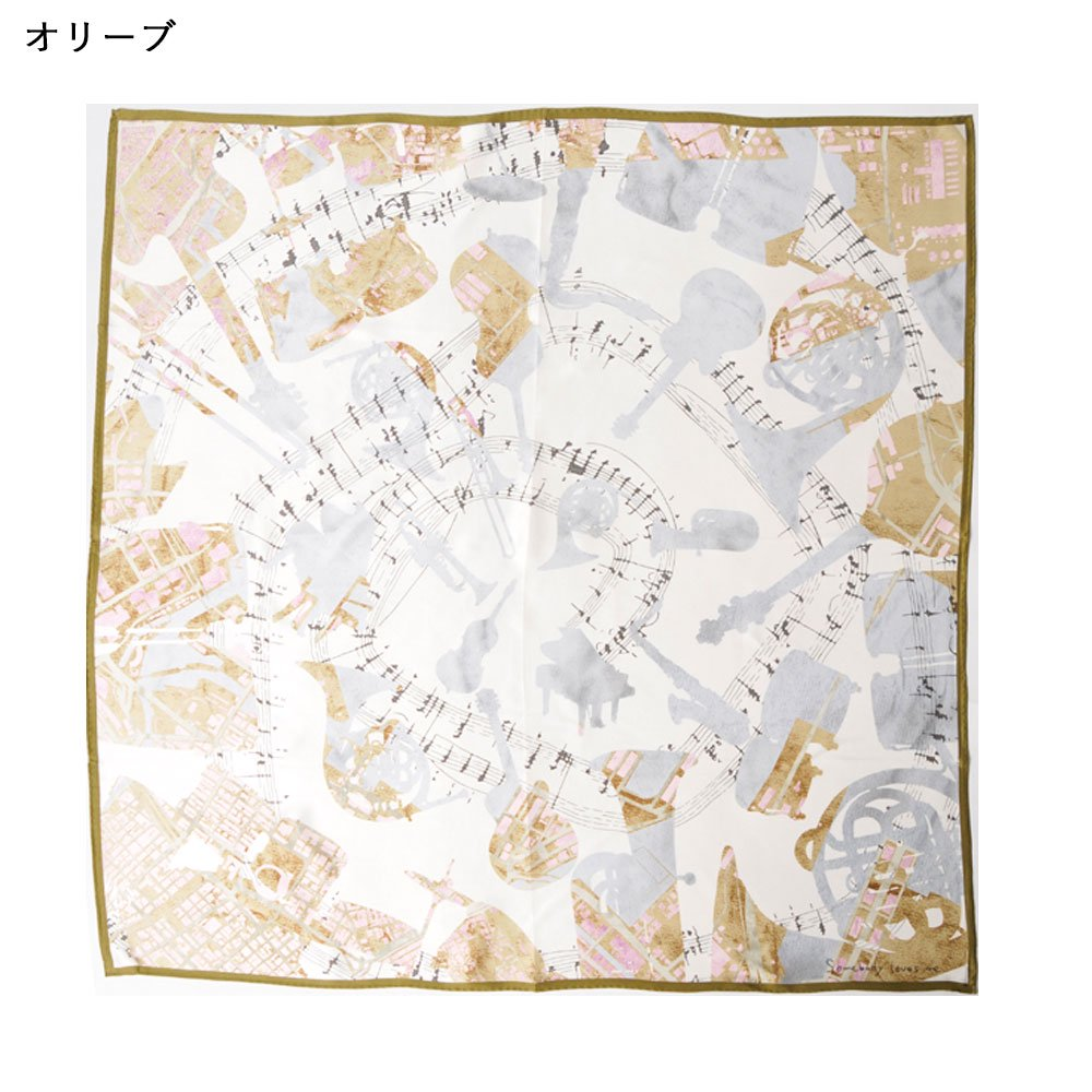 SOMEBODY LOVES ME/JAZZ(CML-008) 伝統横濱スカーフ 大判 シルクスカーフの画像1