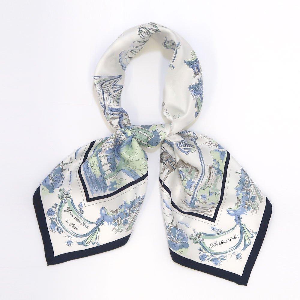 YOKOHAMAスケッチ(CMK-141) 伝統横濱スカーフ 大判 シルクツイル スカーフ