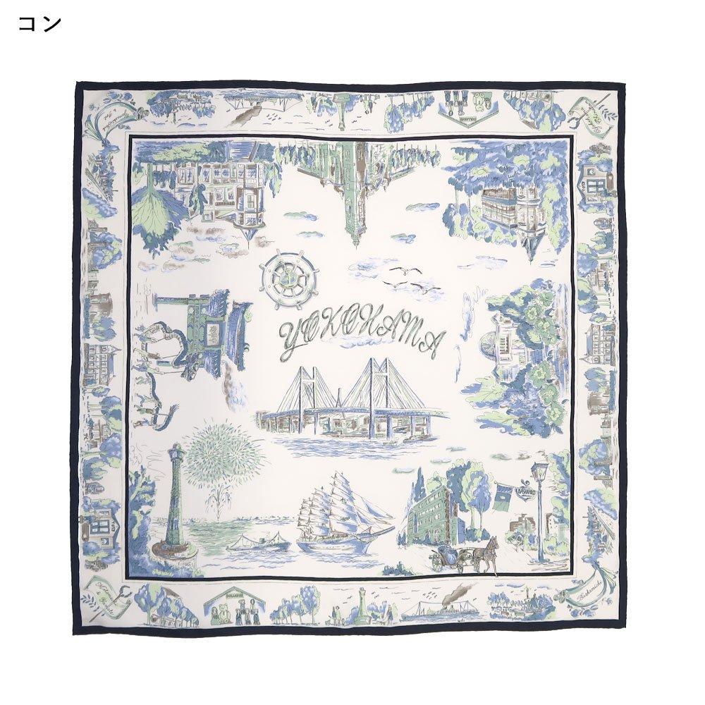 YOKOHAMAスケッチ(CMK-141) 伝統横濱スカーフ 大判 シルクツイル スカーフの画像2
