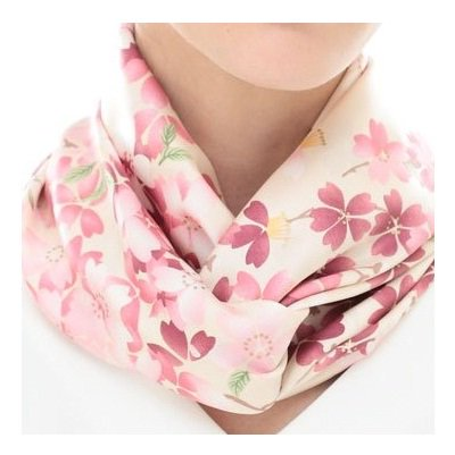 しだれ桜(CFD-021) 伝統横濱スカーフ 大判 シルクツイル スカーフ