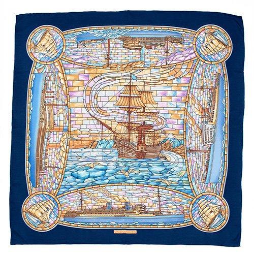 ステンドグラス/ポーハタン号(CMB-200) 伝統横濱スカーフ 大判 シルクツイル スカーフ