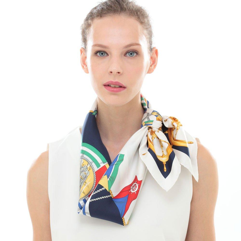 マリンフラッグ(CM3-279) Marcaオリジナル 大判 シルクツイル スカーフ