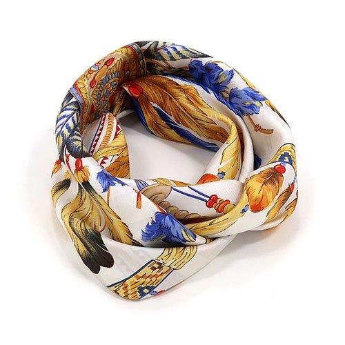 羽根飾り(CM5-156T) Marcaオリジナル 大判 シルクツイル スカーフ