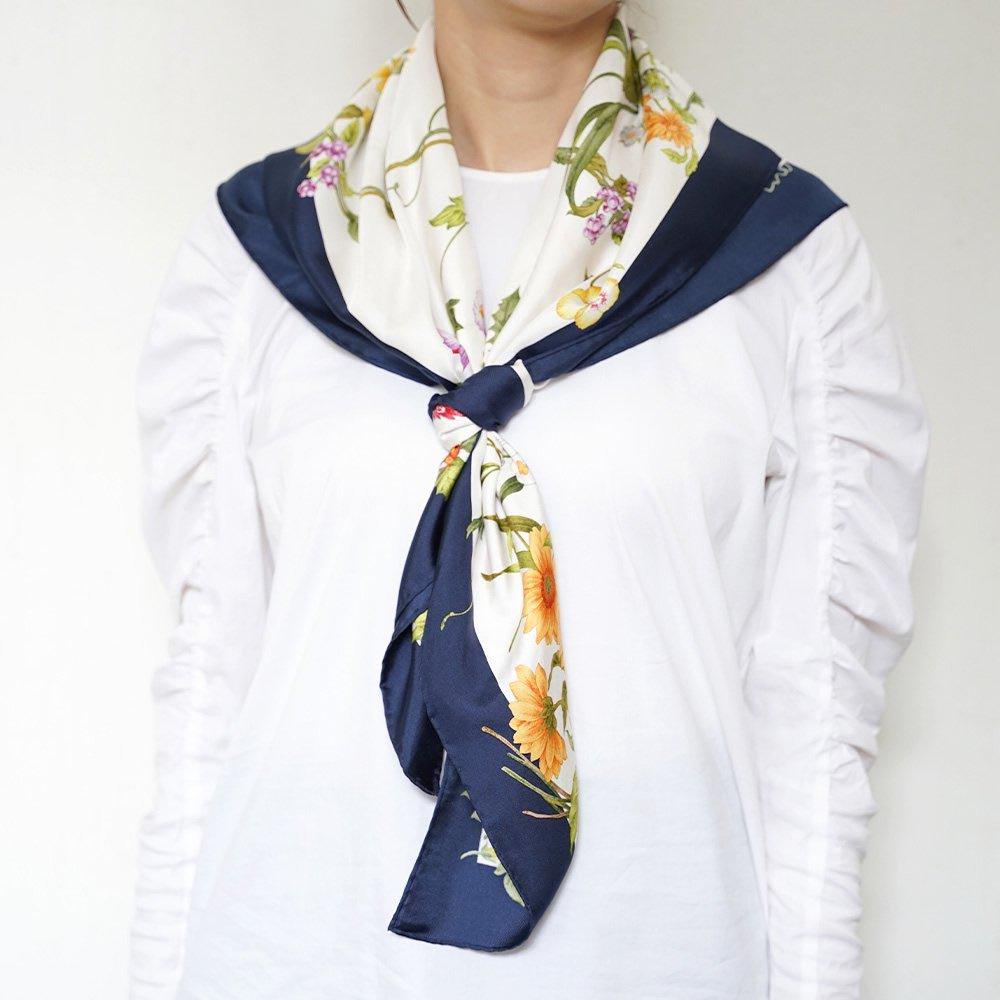 四季のツリー花(CFE-224) 伝統横濱スカーフ 大判 シルクツイル スカーフの画像11