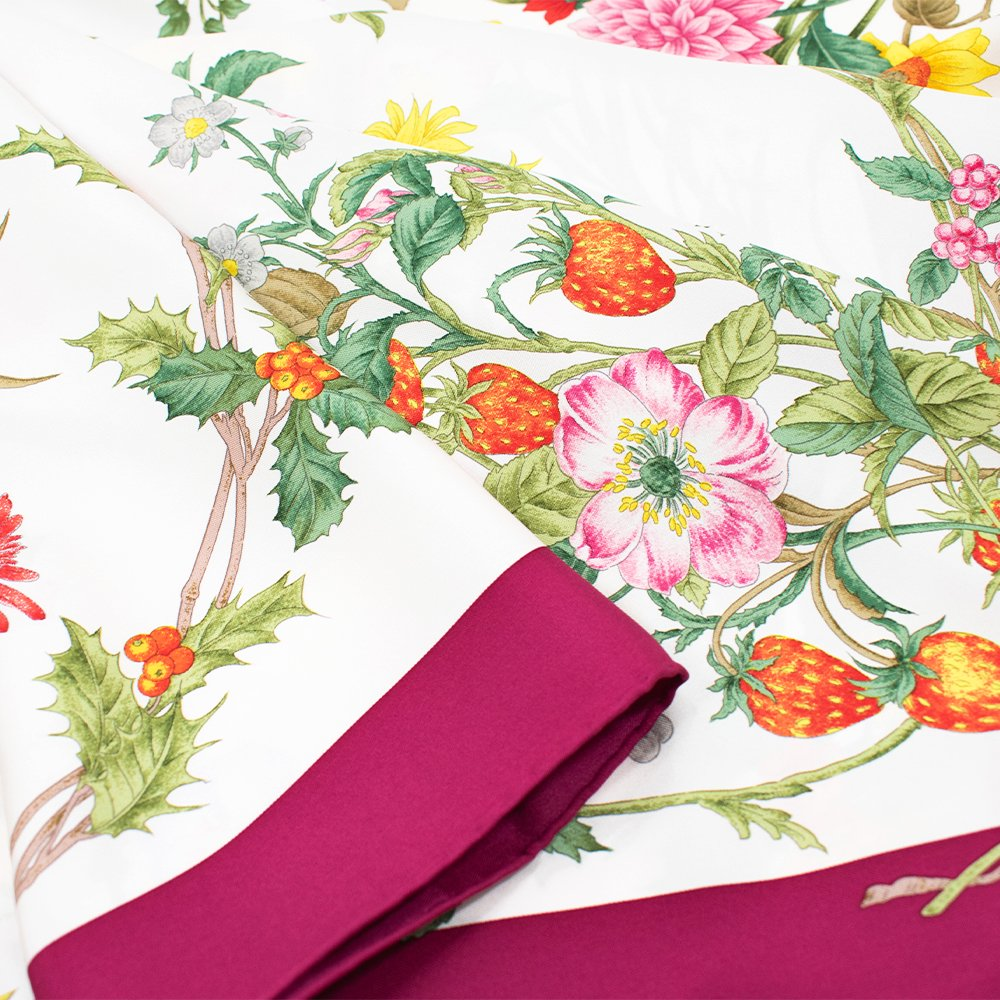 四季のツリー花(CFE-224) 伝統横濱スカーフ 大判 シルクツイル スカーフの画像12
