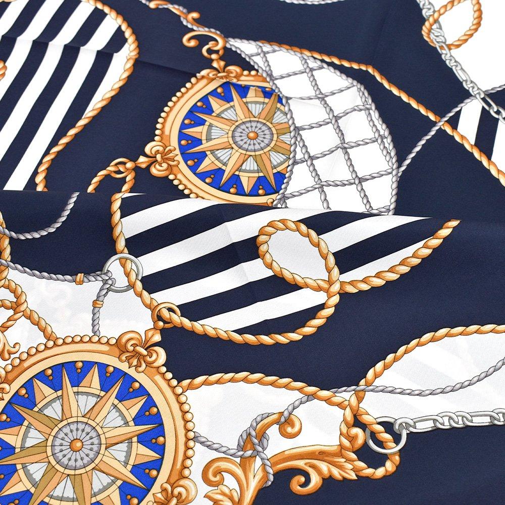 マリン&ロープ(CM5-001) Marcaオリジナル 大判 シルクツイル スカーフ