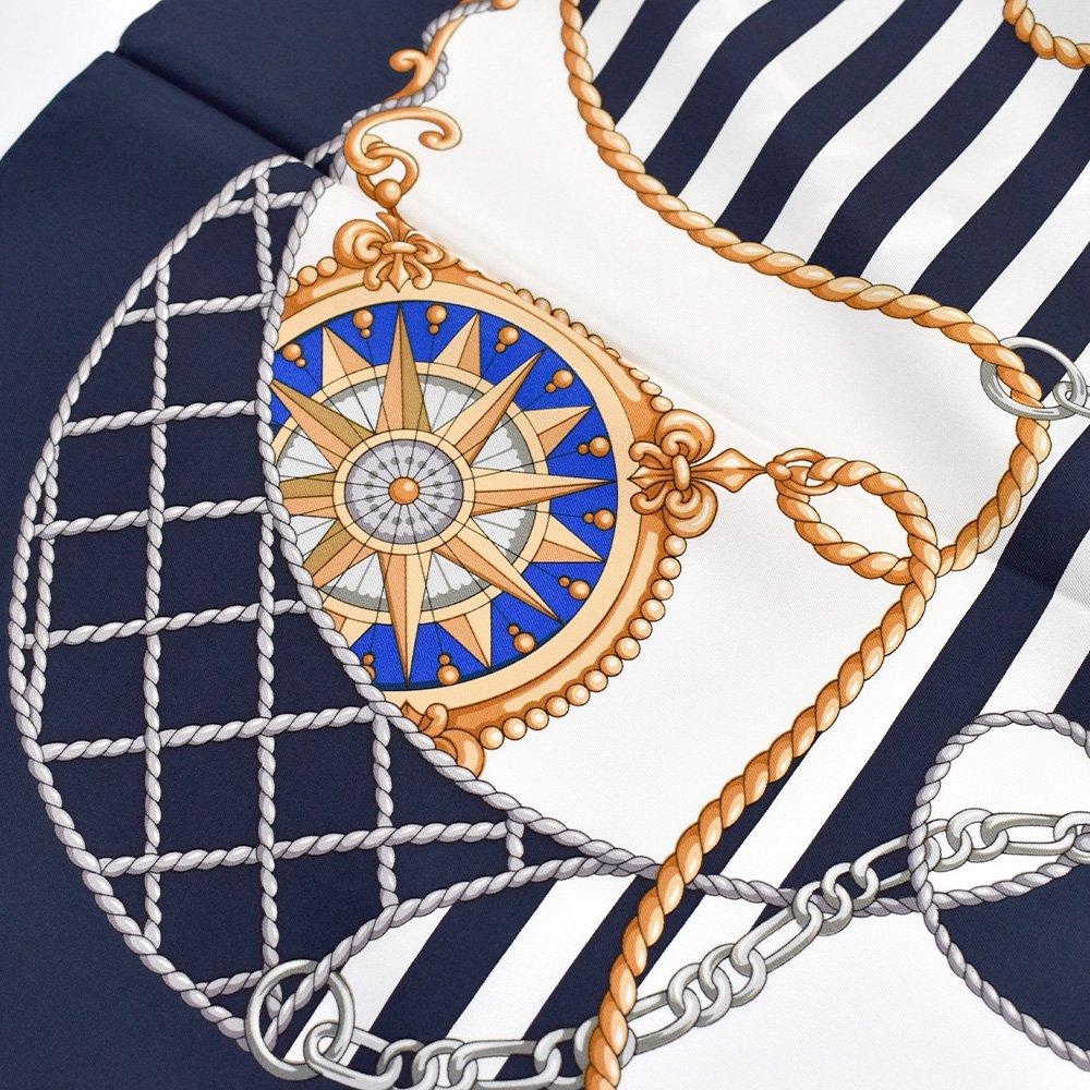 マリン&ロープ(CM5-001) Marcaオリジナル 大判 シルクツイル スカーフの画像4