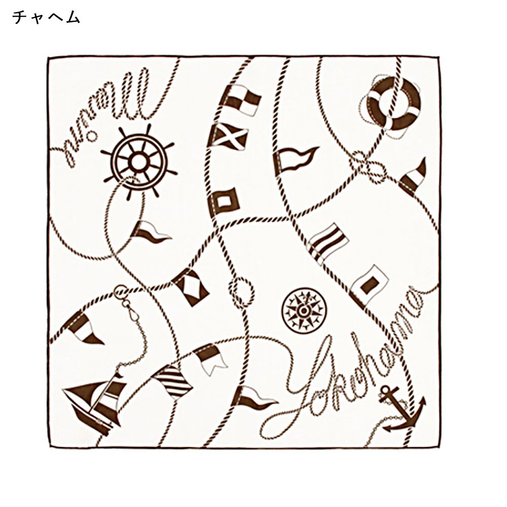 YOKOHAMAクルージング(FEH-268) 伝統横濱スカーフ 小判 シルクローン スカーフ
