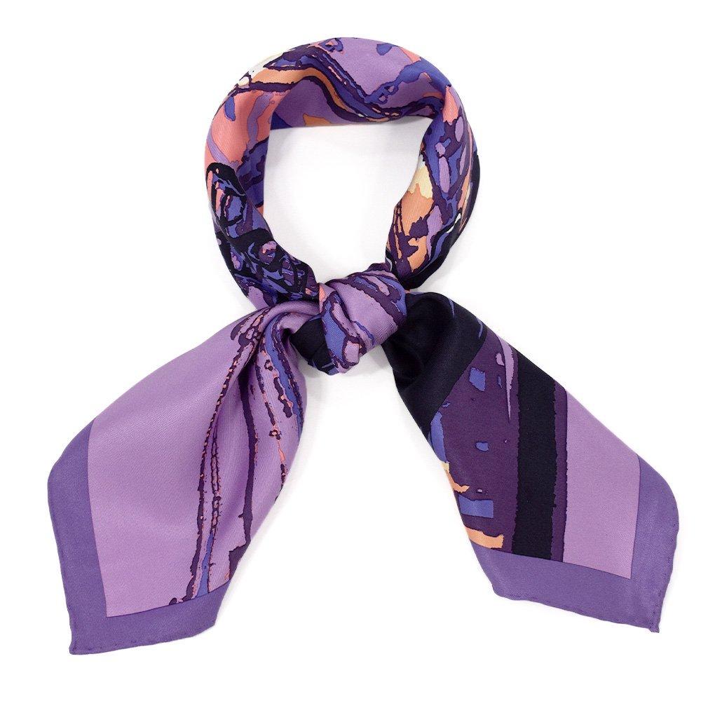 馬車道/ガス灯(FMH-227) 伝統横濱スカーフ 小判 シルクスカーフ