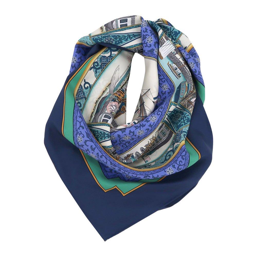 海岸通之図(CX1-910) 伝統横濱スカーフ 大判 シルクツイル スカーフ