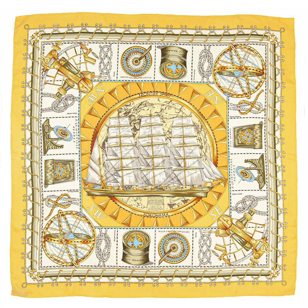 日本丸(CM5-287) 伝統横濱スカーフ 大判 シルクツイル スカーフの画像2