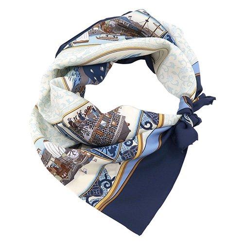 海岸通之図(CX1-910Y) 伝統横濱スカーフ 大判 シルクツイル スカーフ