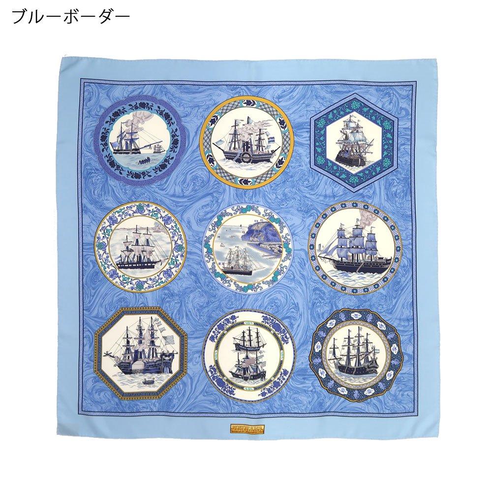 異国船之図(CX1-909Y) 伝統横濱スカーフ 大判 シルクツイル スカーフの画像2