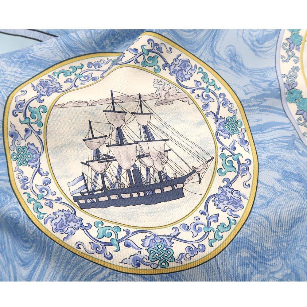 異国船之図(CX1-909Y) 伝統横濱スカーフ 大判 シルクツイル スカーフ