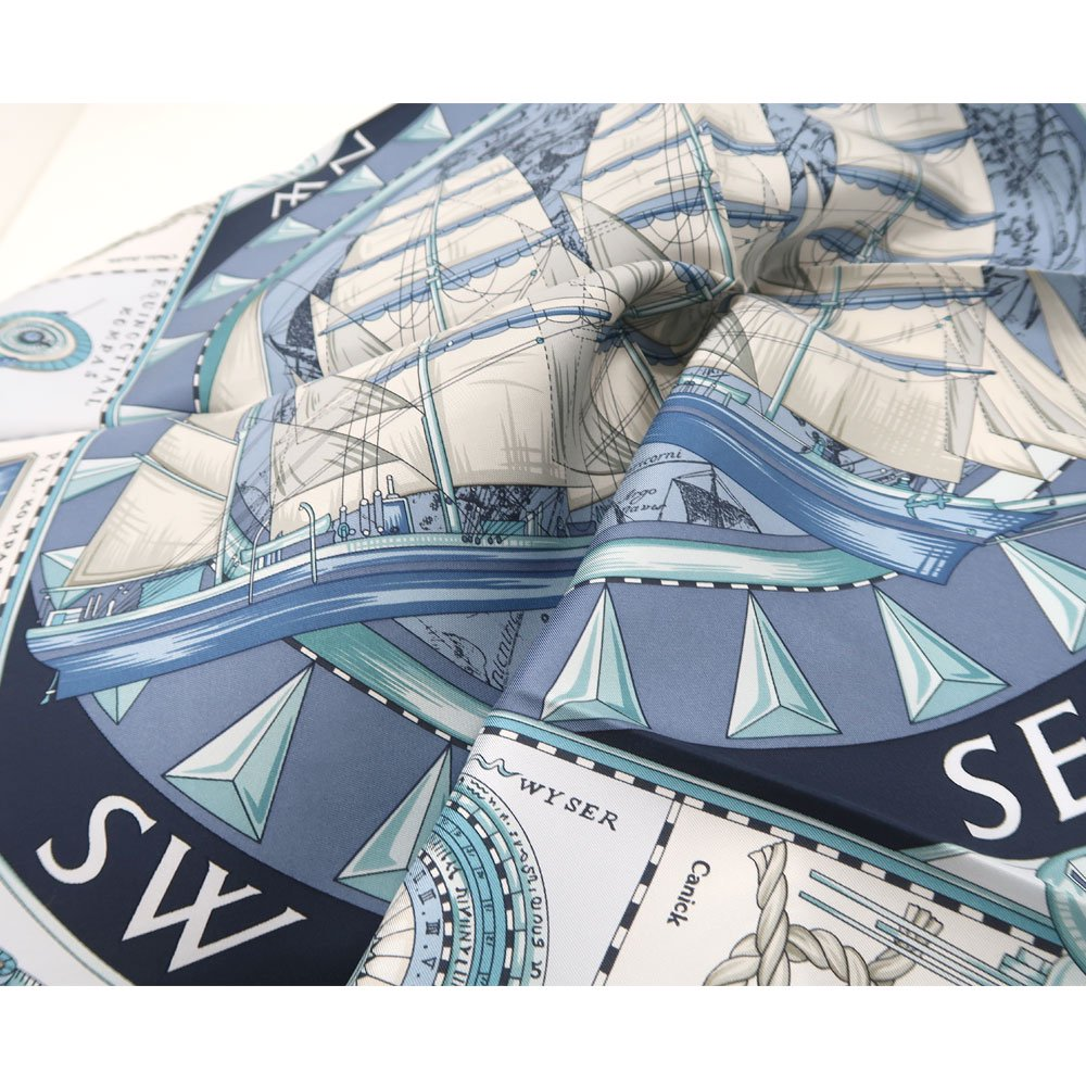 日本丸(CM5-287Y) 伝統横濱スカーフ 大判 シルクツイル スカーフの画像3