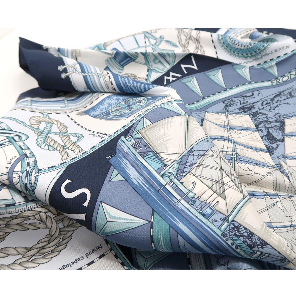 日本丸(CM5-287Y) 伝統横濱スカーフ 大判 シルクツイル スカーフ