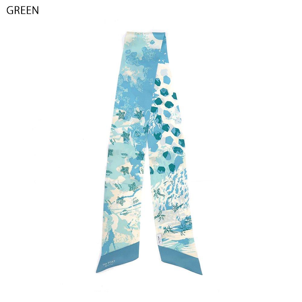 SEA FLOOR(NGQ-052) 【the PORT by marca】 シルクサテン ナロー剣先スカーフの画像2