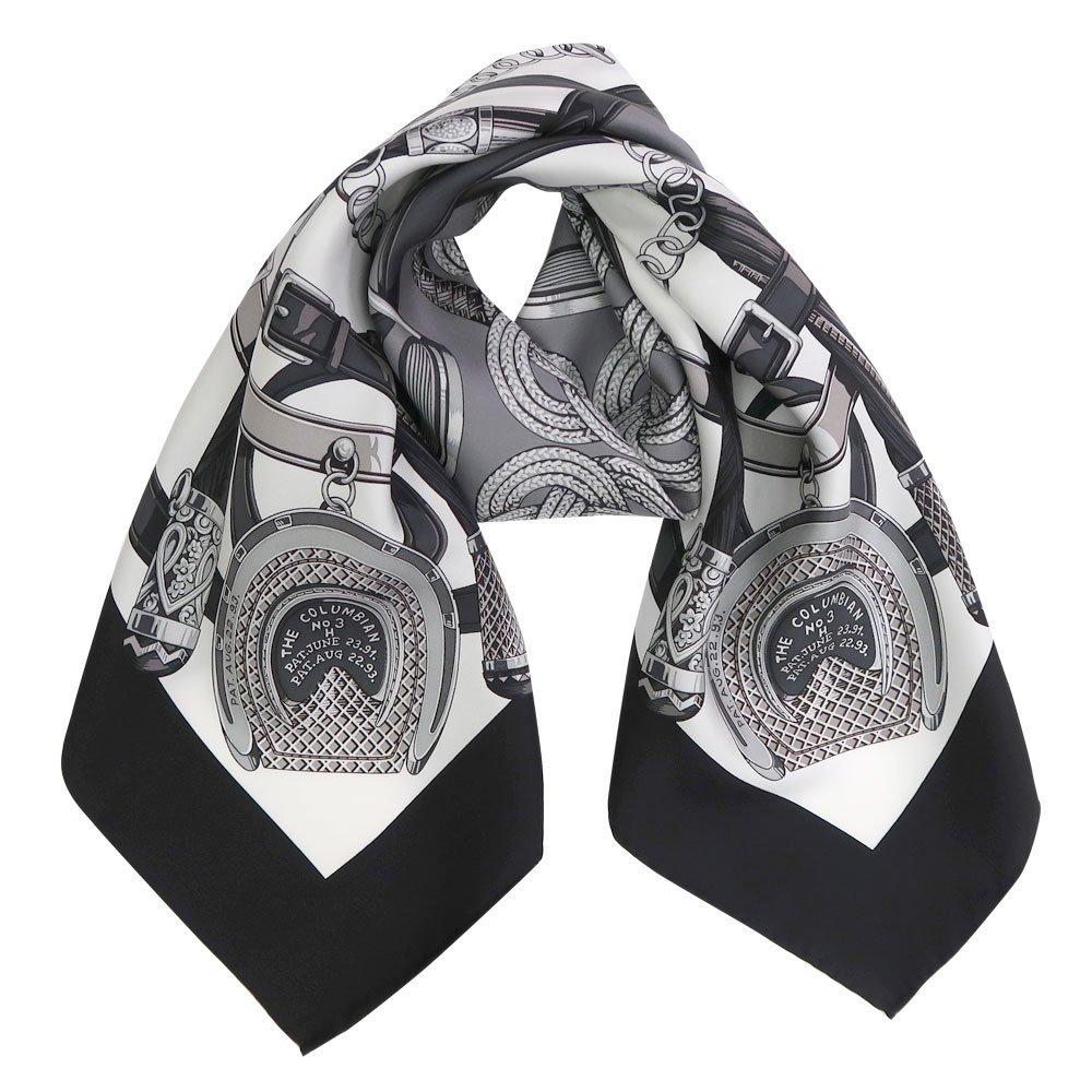 蹄鉄とステッキ(CM5-381) Marcaオリジナル 大判 シルクツイル スカーフ