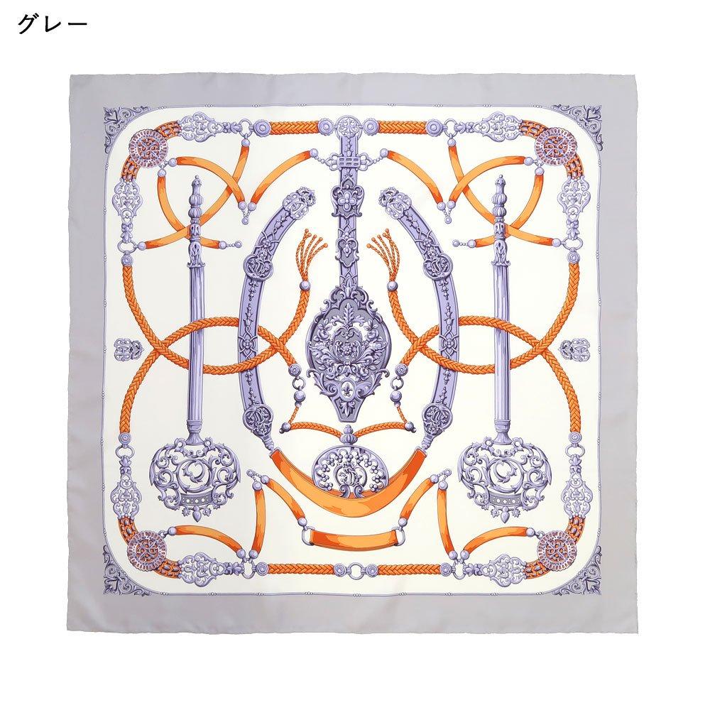 オーナメントキー(CEQ-086) 伝統横濱スカーフ 大判 シルクツイル スカーフ