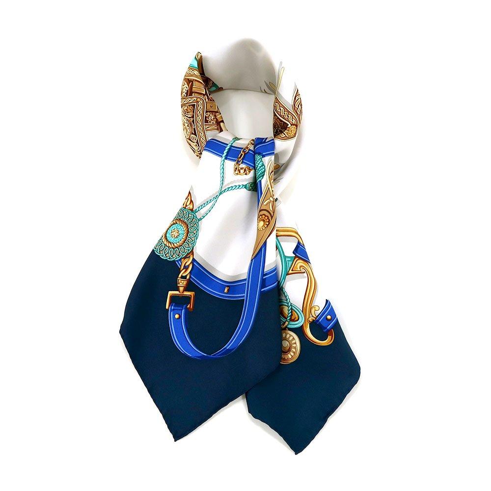 クラシックサドル(CEQ-095) 伝統横濱スカーフ 大判 シルクツイル スカーフ