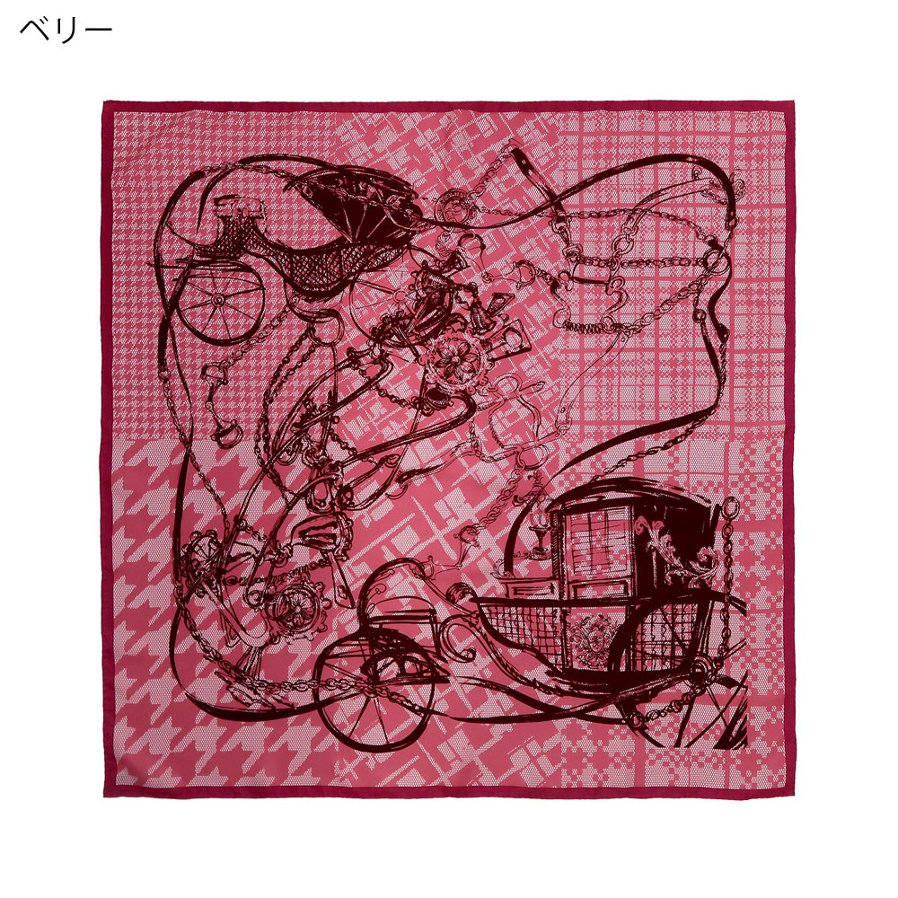 <img class='new_mark_img1' src='https://img.shop-pro.jp/img/new/icons1.gif' style='border:none;display:inline;margin:0px;padding:0px;width:auto;' />ミックス幾何×手描き風馬車(CGQ-099/CEQ-099) Marcaオリジナル 大判 シルクツイル スカーフの画像1