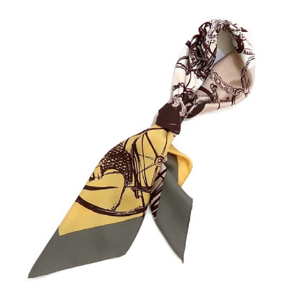色面割幾何×手描き風馬車(CGQ-098/CEQ-097) Marcaオリジナル 大判 シルクツイル スカーフ