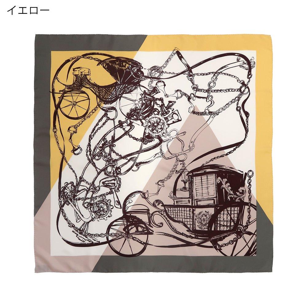 色面割幾何×手描き風馬車(CGQ-098/CEQ-097) Marcaオリジナル 大判 シルクツイル スカーフの画像1