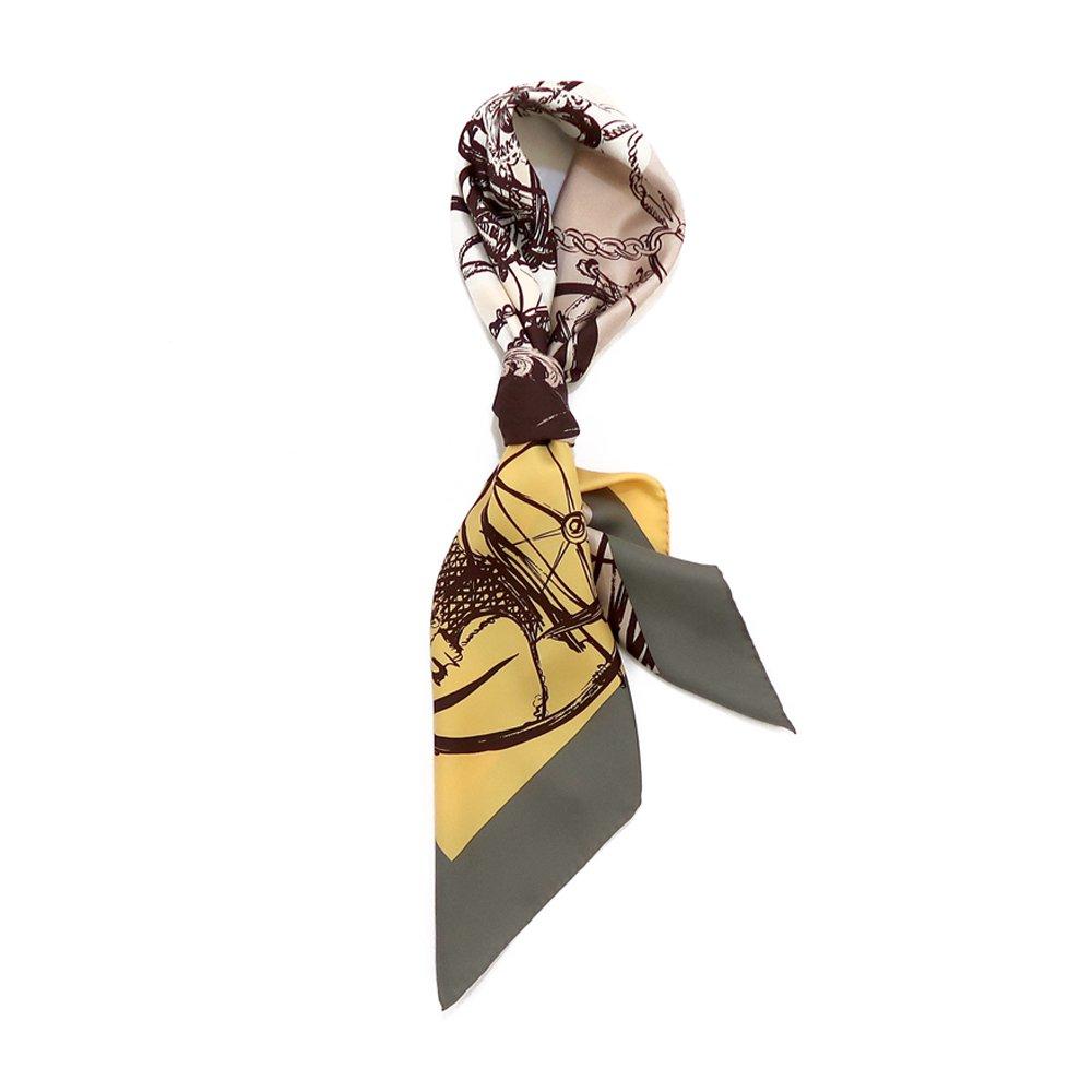 色面割幾何×手描き風馬車(CGQ-098/CEQ-097) Marcaオリジナル 大判 シルクツイル スカーフの画像2