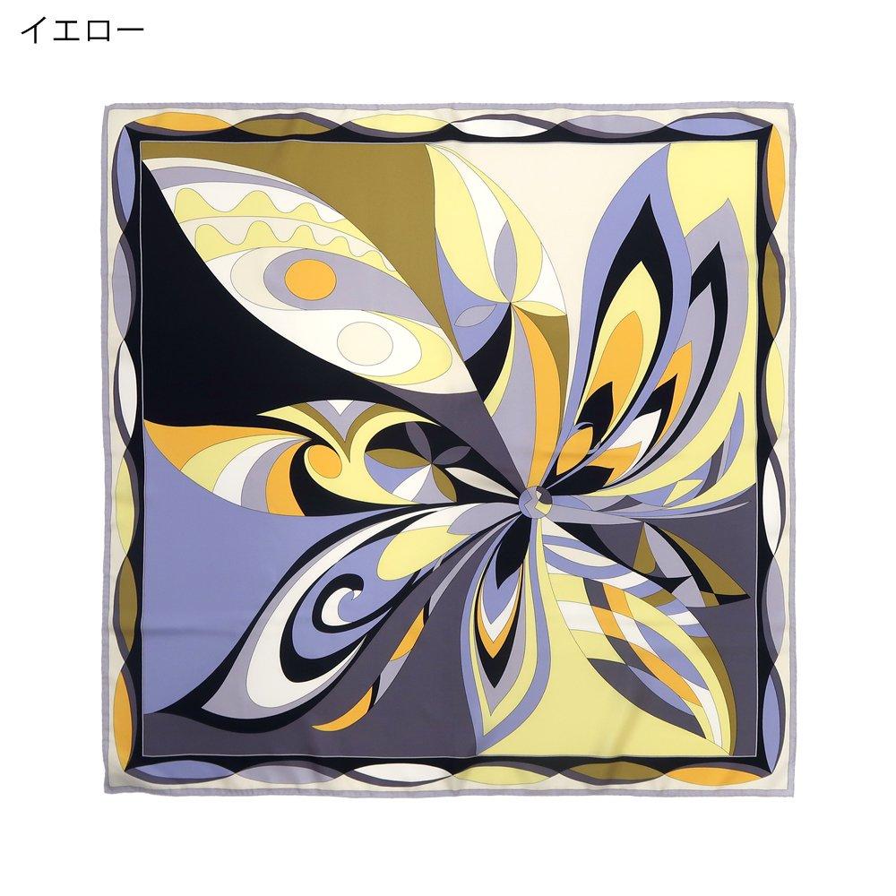 ジオメトリックフラワー(CGD-023) Marcaオリジナル 大判 シルクツイル スカーフの画像1