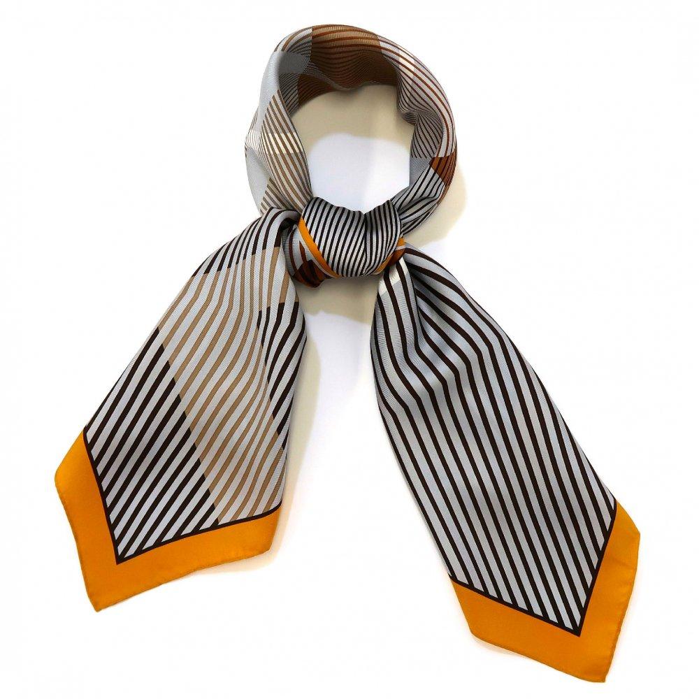 ジオメトリックチェック(CGR-066) Marcaオリジナル 大判 シルクツイル スカーフ