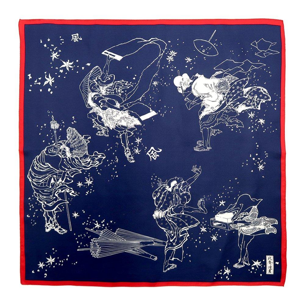 風のいたずら(BMS-008) 葛飾北斎 Marcaオリジナル 小判スカーフ シルクツイルの画像3