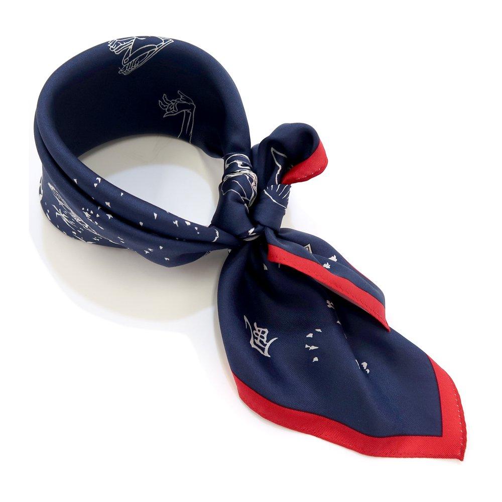風のいたずら(BMS-008) 葛飾北斎 Marcaオリジナル 小判スカーフ シルクツイル