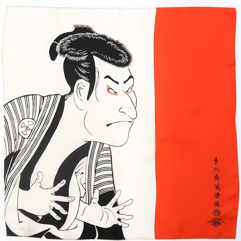 鬼次の奴 江戸兵衛(BMS-082) 写楽 Marcaオリジナル 小判 シルクツイル スカーフ